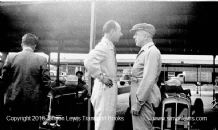 ERA drivers Raymond Mays & Earl Howe .Photo. Brooklands Paddock c.1938 with their cars behind them.